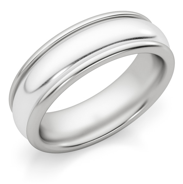 6mm White Gold Polished Wedding Band Ring