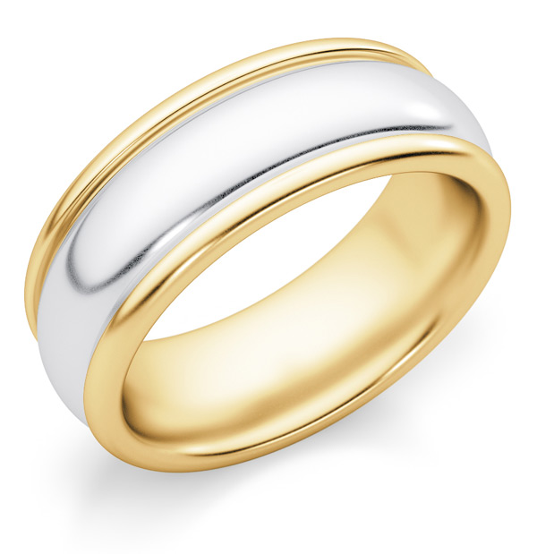 7mm Plain Two-Tone Gold Wedding Band