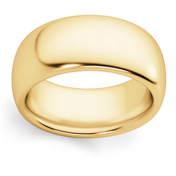 Comfort-Fit 8mm Plain 14K Gold Wedding Band Ring