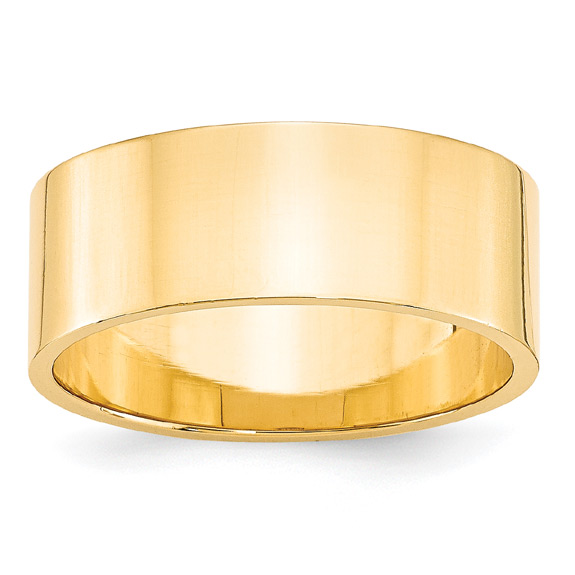 8mm Flat Wedding Band Ring in 14K Yellow Gold