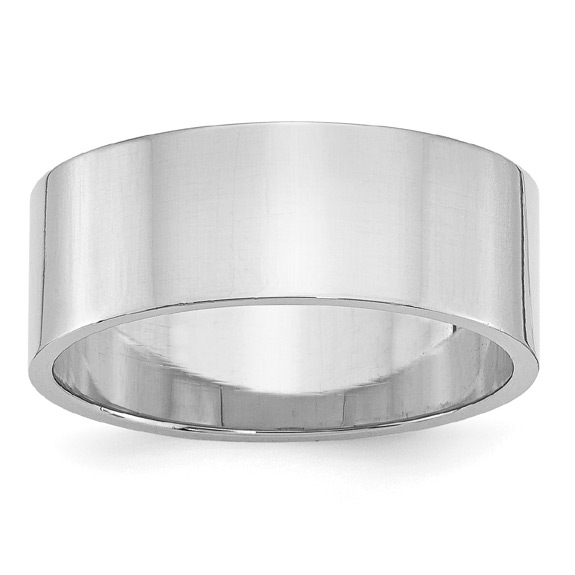 8mm 14K White Gold Flat Wedding Band Ring