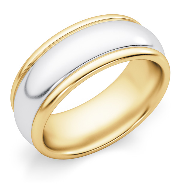 8mm Plain Polished Two-Tone Gold Wedding Band Ring