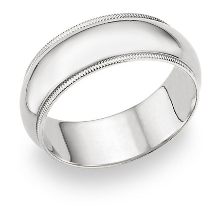 6mm Milgrain Wedding Band in 14K White Gold