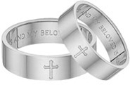 Song of Solomon Cross Wedding Band Set - White Gold