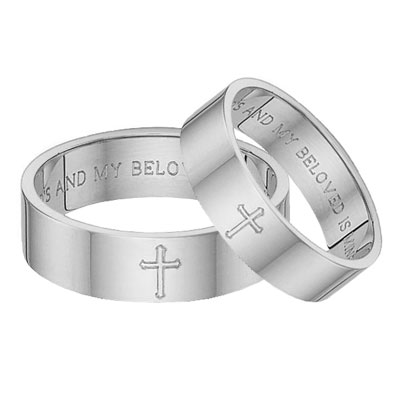 Song of Solomon Cross Bible Verse Wedding Band Ring Set