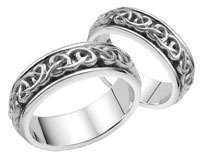 Bowen Celtic Wedding Band Set - 14K White Gold