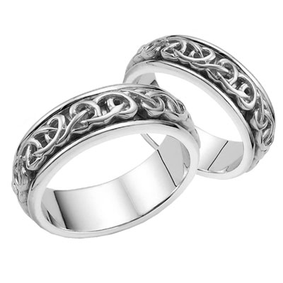 Matching Bowen Celtic Wedding Band Set - 14K White Gold