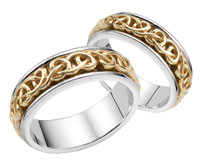 Bowen Celtic Wedding Band Set, 14K Two-Tone Gold
