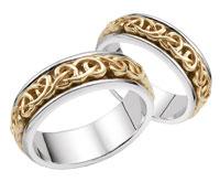 Bowen Celtic Wedding Band Set, 14K Two-Tone Gold