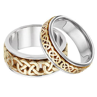 his and hers celtic wedding band set in 14k two tone gold - Celtic Wedding Ring Sets