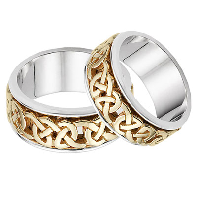 Caedmon Celtic Wedding Band Set, 14K Two-Tone Gold