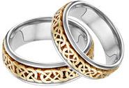 Caer Celtic Knot Wedding Band Set, 14K Two-Tone Gold