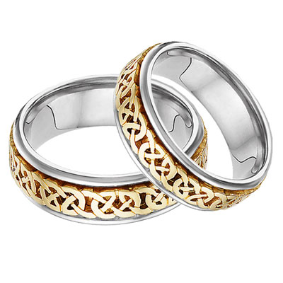Caer Celtic Knot Wedding Band Set, 14K Two-Tone Gold
