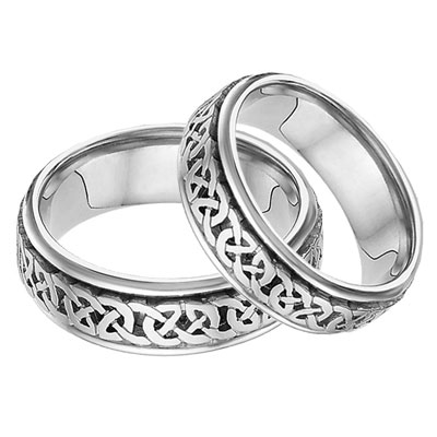 Caer Celtic Knot Wedding Band Set, 14K White Gold