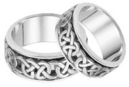 Caedmon Celtic Wedding Band Set, 14K White Gold
