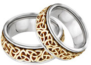 Celtic Trinity Knot Wedding Band Set, 14K Two-Tone Gold