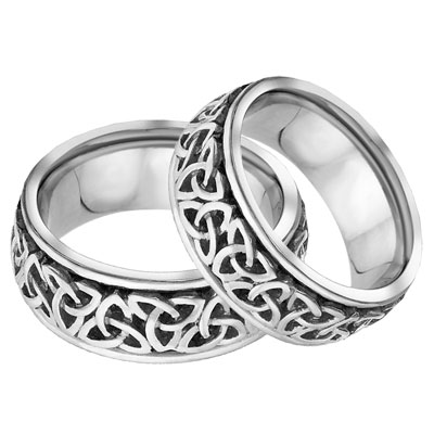 Celtic Trinity Knot Wedding Band Set, 14K White Gold