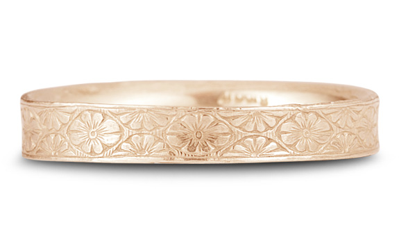 Vintage Floral Wedding Band in 14K Rose Gold