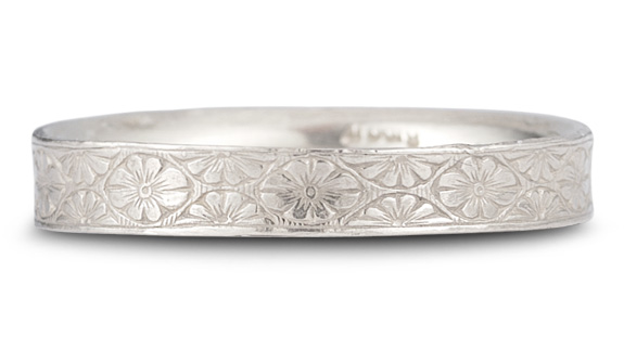 Vintage Floral Wedding Band in 14K White Gold - Size 6 1/2