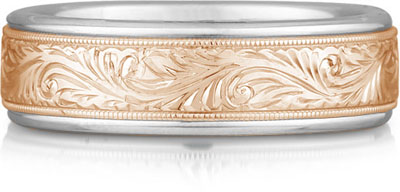 Engraved Paisley Wedding Band, 14K Rose and White Gold
