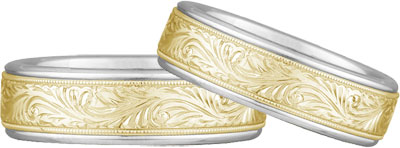 Engraved Paisley Wedding Band Set, 14K Two Tone Gold