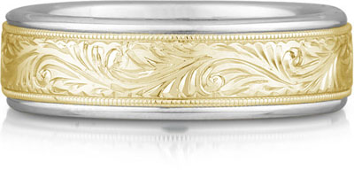 Engraved Paisley Wedding Band Ring, 14K Two-Tone Gold