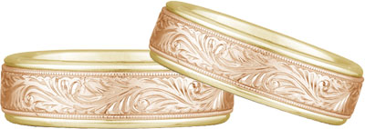 Engraved Paisley Wedding Band Set, 14K Yellow and Rose Gold