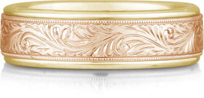 Engraved Paisley Wedding Band, 14K Yellow and Rose Gold
