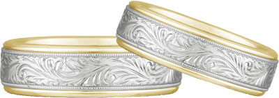 Engraved Paisley Wedding Band Set in 14k Two-Tone Gold