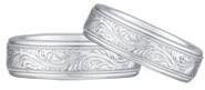 Paisley Engraved Wedding Band Set, 14K White Gold