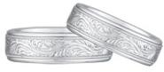 Paisley Engraved Wedding Band Set, 14K White Gold