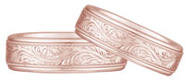 Engraved Paisley Wedding Band, 14K Rose Gold