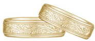 Paisley Engraved Wedding Band Set, 14K Yellow Gold