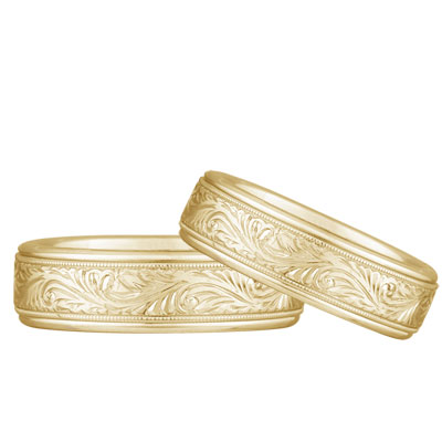 Paisley Engraved Wedding Band Set, 14K Yellow Gold
