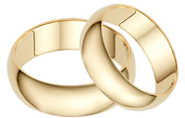 6mm Plain Gold Wedding Band Set in 14K
