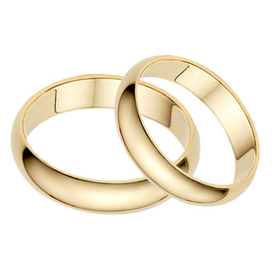 4mm Plain Gold Wedding Band Set In 14k