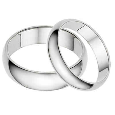 His And Hers Plain 14K White Gold Wedding Band Set