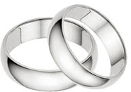 6mm Plain White Gold Wedding Band Set in 14K