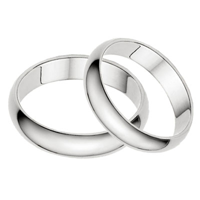 4mm Plain White Gold Wedding Band Set in 14K