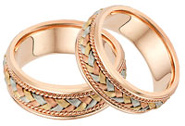 14K Rose Gold and Tr-Color Braided Wedding Band Ring Set
