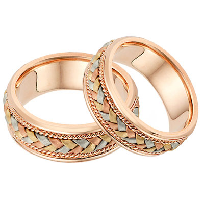 14k Rose Gold And Tr Color Braided Wedding Band Ring Set