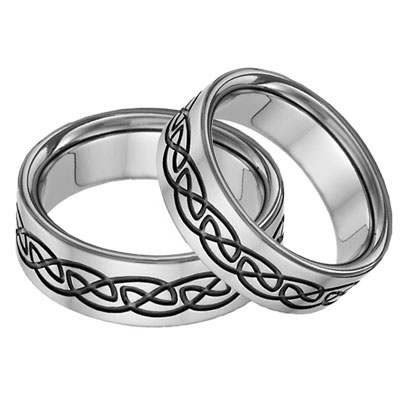 Black Titanium Celtic Wedding Band Set