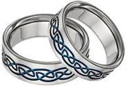 Blue Titanium Celtic Wedding Band Set