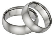 His and Hers Plain Titanium Wedding Band Set