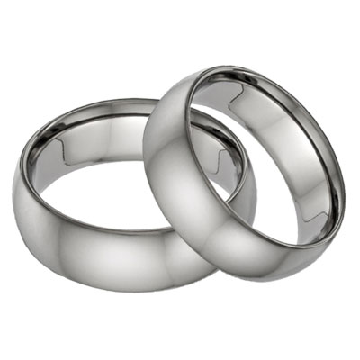 His And Hers Plain Anium Wedding Band Set