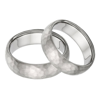 Titanium Hammered Wedding Band Set