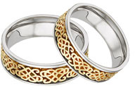 Celtic Heart Knot Wedding Band Set, 14K Two-Tone Gold