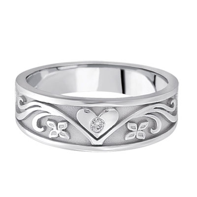 Silver Heart Diamond Floral Wedding Band