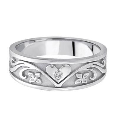 Silver Heart Diamond Fl Wedding Band