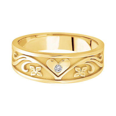 Heart Vineyard Diamond Wedding Band in 14K Yellow Gold